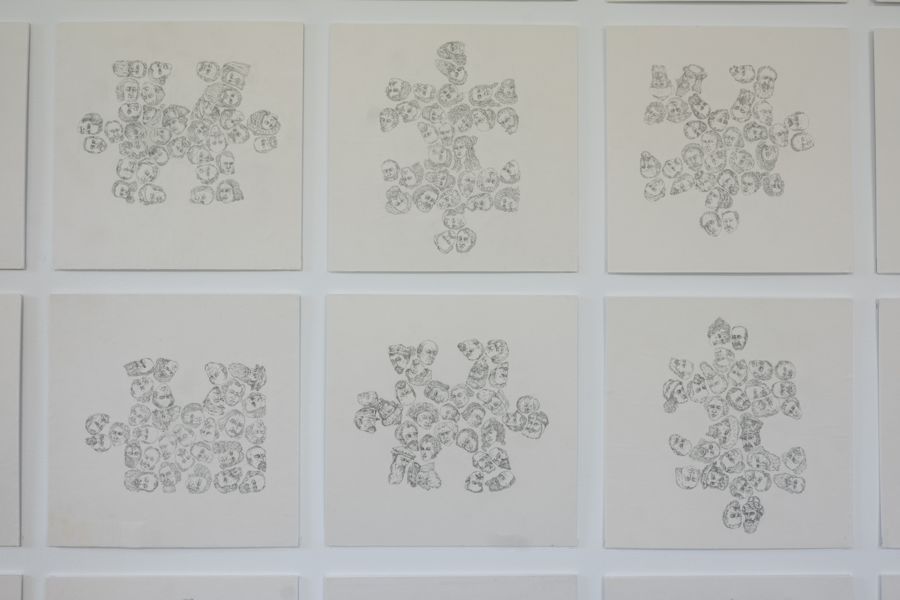 Detail Puzzled 24 individual 23 x 23 cm drawings 0.05 pigment liner dots on translucent paper.